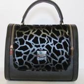 Стильная сумка две змейки Эко кожа+замш (1