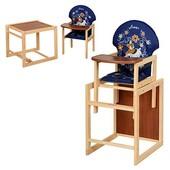 Стульчик для кормления деревянный трансформер Vivast, 43*96*45см, ремни безопасности, V-010-24-6