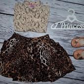 9 - 10 лет 140 см Очень классная юбка стильной моднице фирменная леопард