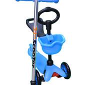 Самокат 3в1 с наклоном руля и сидением scooter, SKL-06-100B, голубой
