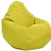 Желтое кресло-груша из микророгожки 100х75 см