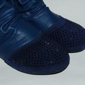 Шалунишка арт.5554 темно-синий Демисезонные ботинки для девочек. р.31,32,33,34,35,36