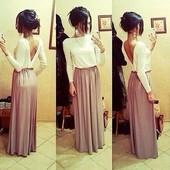 Платье в пол юбка капучино