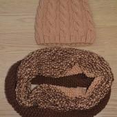 Вязаный комплект шапка+хомут (ручная работа)