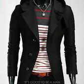 Мужское пальто -осень ,зима -из кашемира,S, M, L, хL.чёрный и т.серый (2з