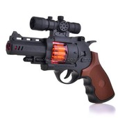 Пистолет игрушечный, звук, световые эффекты, вибро. артикул 6889-51