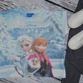 5 - 6 лет 116 см Обалденная фирменная футболка девочке с принтом Холодное Сердце Эльза и Анна