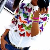 7-63 Женская рубашка / Рубашка с бабочками / Блузка