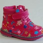Y.TOP арт.S025-5 малиновый Демисезонные ботинки для девочек.