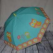 Зонтик зонт детский трость с яркими картинками Сова Совышка