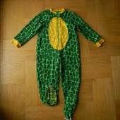 92-98 см Marks&Spencer шикарная флисовая пижама человечек слип поддева. Длина - 83 см, до памперса -
