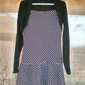 Стильное платье с длинным рукавом в горох для девочки 9 -10 лет ( 134 -140)