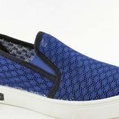 Слипоны синие сетка Т594