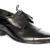 Мужские классические  туфли на шнуровку черные Б05