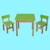 Детский Эко набор стол и два стульчика салатовый. F37
