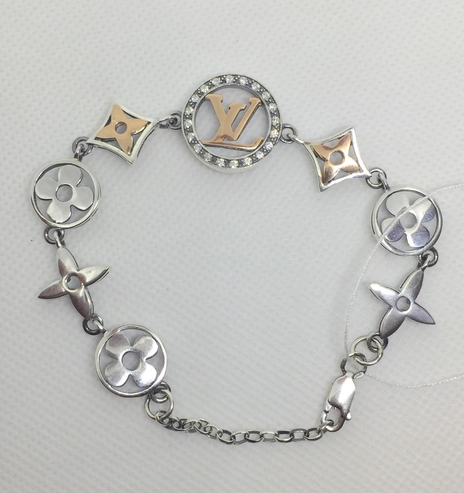 Новый серебряный браслет куб.цирконий позолота 17,0-20,0 см серебро 925 пробы фото №1