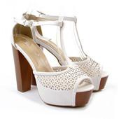 Туфли летние белые на каблуке Б573 р.39,40