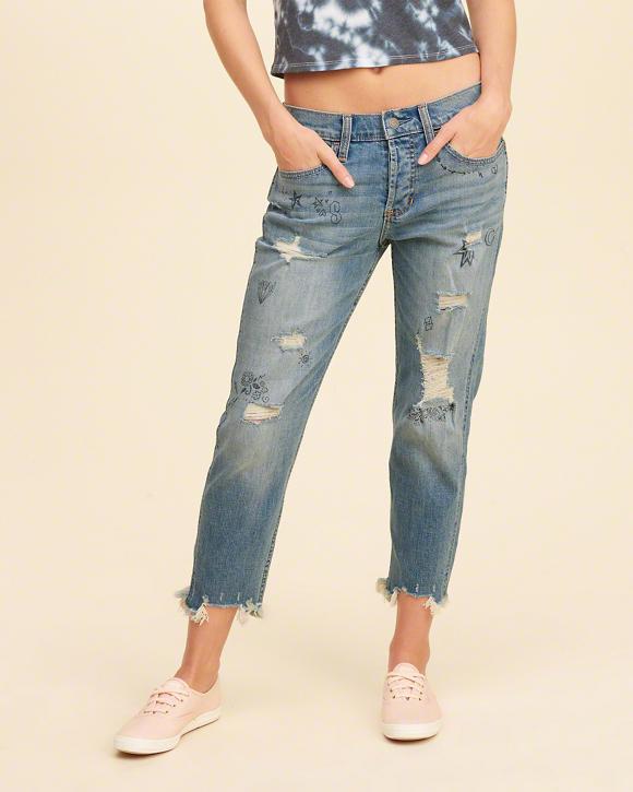 Моднячие женские джинсы,  укороченные бойфренды hollister 38р.новые с биркой в наличии фото №1