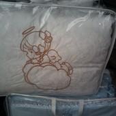 Детское однотонное постельное белье в кроватку Ангел из 8 предметов