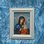 Неувядаемый цвет , икона Божией Матери вышита бисером