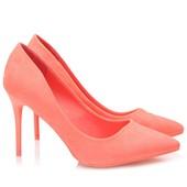 Элегантные замшевые (экозамша) туфли персикового цвета