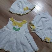 Комплект платье, панамка, трусики