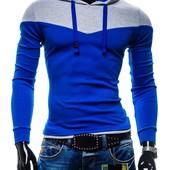 Двухцветное худи, XL.синий. (2з)