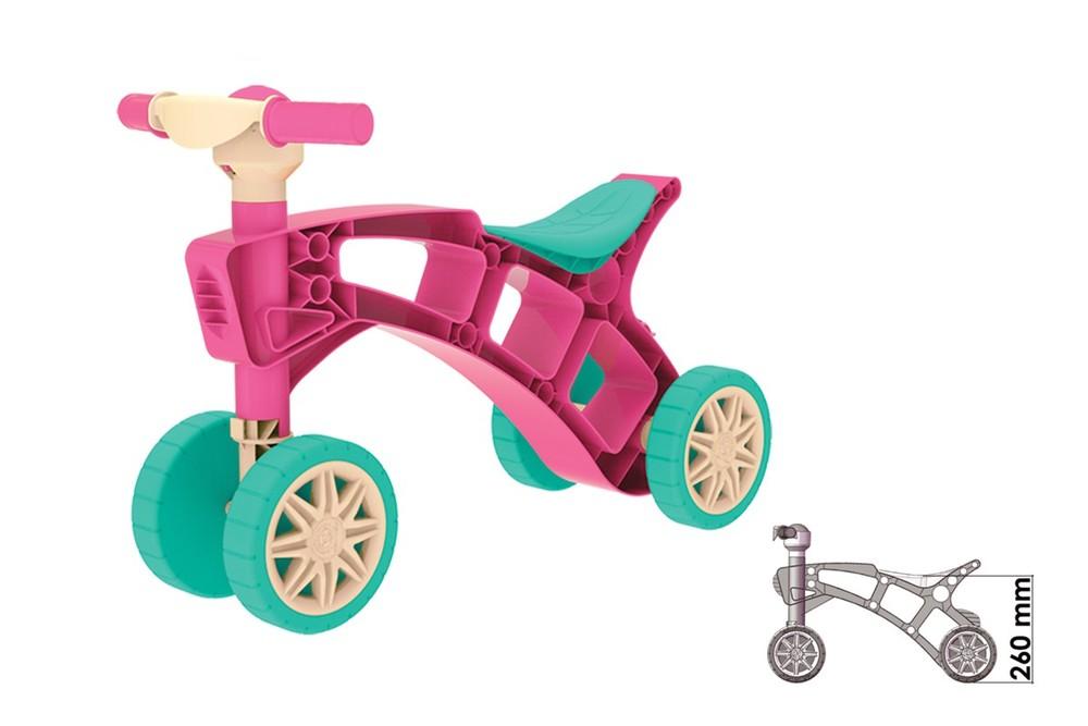 Ролоцикл 4 колеса розовый технок 3824 беговел пластиковый фото №3