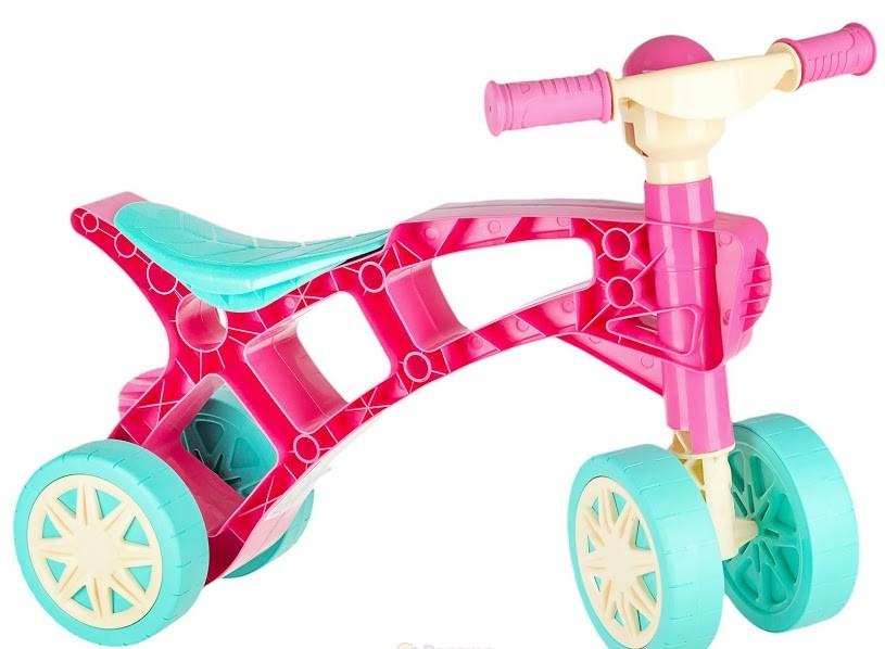 Ролоцикл 4 колеса розовый технок 3824 беговел пластиковый фото №1