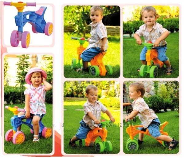 Ролоцикл 4 колеса розовый технок 3824 беговел пластиковый фото №8