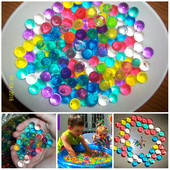 Гидрогель. 1 000 тысяча маленьких разноцветных растущих в воде шариков.
