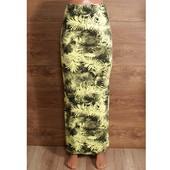 Длинная облегающая юбка с разрезами и тропическим принтом