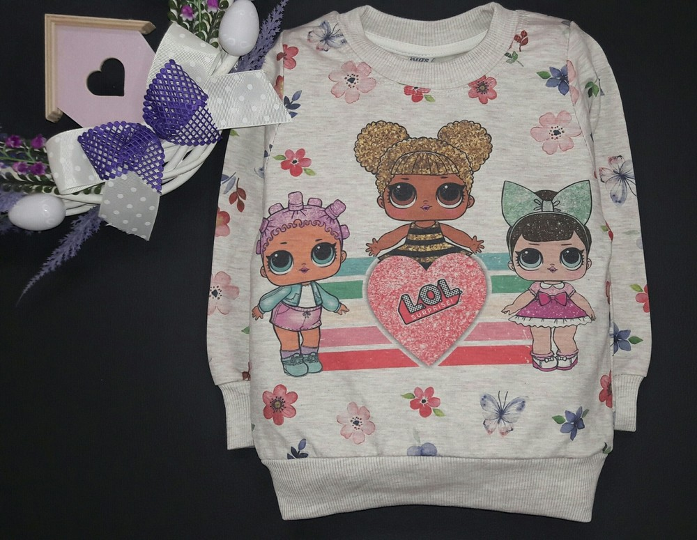 Модный джемпер для девочки куколки lol бежевый рост 98-128 см фото №1