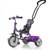 Доставка! велосипед 3х колёсный с родительской ручкой Milly Mally Boby 2015 с подножкой (violet)
