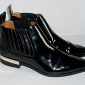 (39 41) Шикарные модные лаковые ботинки Zara! люкс