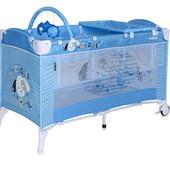 Манеж детский 2  уровня + пеленальный столик/дуга Bertoni Just4Kids arena 2 layers+ blue doggie