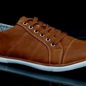 Мужские  стильные коричневые кеды ботинки