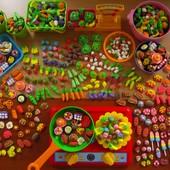Мини еда,овощи и фрукты для игр или Барби.Набор из 20шт.На выбор. Детки очень любят)