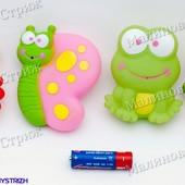 """Брызгалки для купания """"Веселые животные"""", 4 шт, для ванной купаться игрушки лягушка крабик бабочка"""