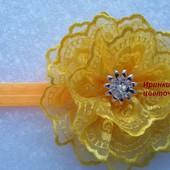 "желтый цветок на повязочке для маминой ""солнышки"""