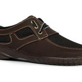 Мужские туфли мокасины коричневые П-31К
