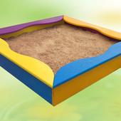 Песочница с сиденьями, 150×150, детская, деревянная, цветная, сосна, от производителя, 8011