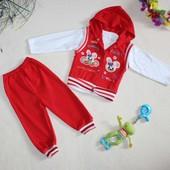 Хлопковый спортивный костюм тройка (1-2 года) Турция