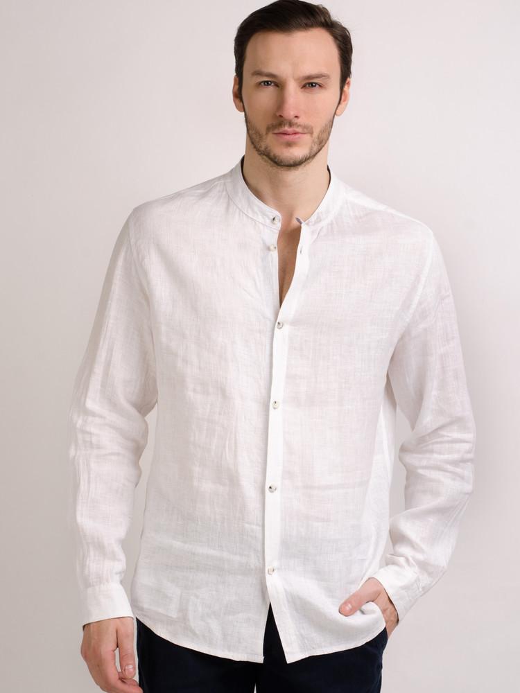 Льняная мужская и женская рубашка, унисекс лен для всех фото №1