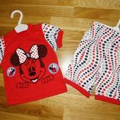 Комплект на девочку футболка+шорты Минни, Турция