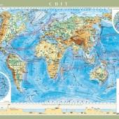 Світ. Фізична карта , м-б 1:22 000 000 Большая, Настенная