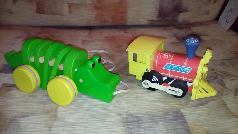 Деревянный поезд каталка крокодил фото №1