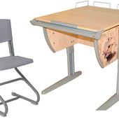 Парта с полкой под монитор и стулом, Клен Серый с рисунком Фрегат (Д-20031096)
