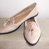 Бежевые туфли- лоферы -оксфорды для стильных!