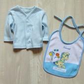 Комплект для новорожденного: распашонка + слюнявчик. Размер 0-1 месяц